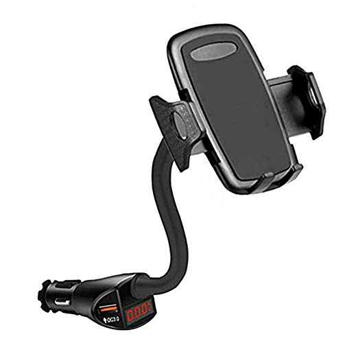 Cigarette Lighter Phone Mount, Dual USB PD QC 3.0 Quick Charge, Fast Car Charger Cell Phone Holder Cradle Compatible with iPhone 11 Pro XS MAX X XR 8 7 Plus Samsung Galaxy S10 S9 S8 Plus Note 10 9 8