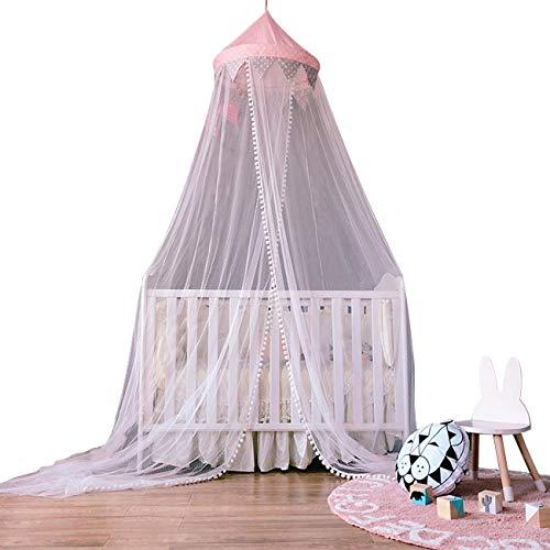 Dyna-Living Baby Kids Moskitonetz Princess Bed Canopy 3 Schichten Spitze Rüschen Dome Pink