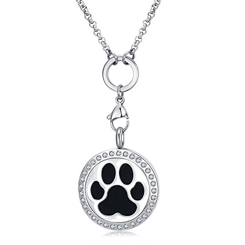 Mesinya Essential Oil Diffuser Necklace Aroma Hypo-Allergenic Magnetic Locket Pendant With Chain&Pads (Dog Paw W/Crystal)