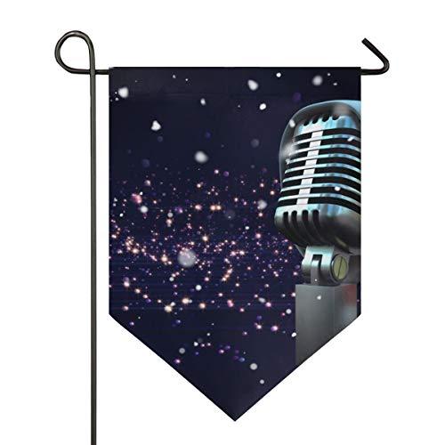 DEZIRO Garden Flag Microfoon Met Santa Hat Patroon Verticale Dubbele Zijde Yard Decor Kleurrijk Ontwerp voor Alle Seizoenen & Vakanties 28x40in 1 exemplaar
