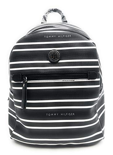 Tommy Hilfiger Backpack - City Backpack - Mini Backpack - Backpack - Leisure Backpack - Black/White - 30 x 30 x 15 cm - Carry Handle - Hand Luggage - Women's Backpack 0052