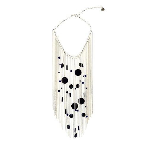 Kokomorocco Collar lapislázuli y Cadenas de Plata, Collar Corto Mujer, Ocasión Especial, Fiesta, Boda Regalos Originales