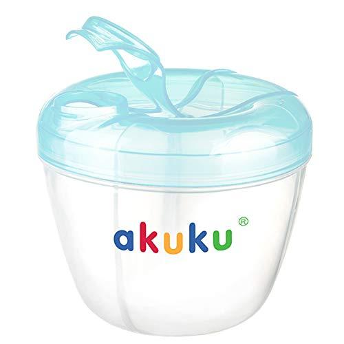 AKUKU Milchpulver Portionierer Baby blau transparent   Milchportionierer Baby mit 4 Kammern bpa-frei Baby Zubehör 0-6 Monate   Babypulver Portionierer Milchpulver Aufbewahrung