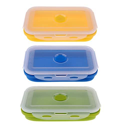 3pcs Silikon Faltbar Schüssel Tragbare Lunch Box Rechteckig Bento Box klappbar Frischhaltedosen mit Deckel, viele Größe Auswahl