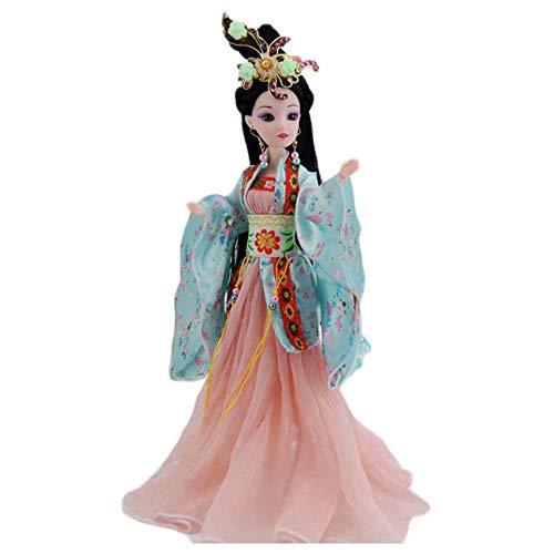 BLANCHO BEDDING Chinesische antike kugelgelenkige Puppe 12-Joints Doll Orange und Light Blue China Fairy