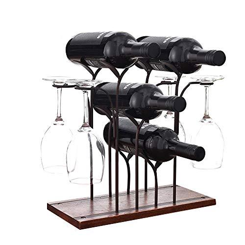bigzzia Weinregal - 4 Flaschenregal und 4 Weinglasregal - freistehend Holz und Edelstahl, stilvolle Einfachheit Weinhalter.