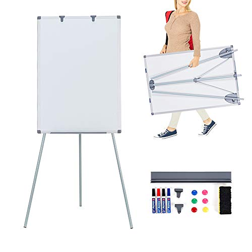 MAKELLO Whiteboard Easel Flipchart Stand Magnetic Dry Erase Board, Movable Hooks, Adjustable Height, 36X24 inches