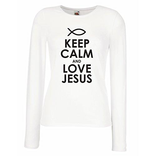 Camisetas de Manga Larga para Mujer Amo a Jesucristo, Religión Cristiana - Pascua, Resurrección, Natividad, Ideas de Regalo Religioso (X-Large Blanco Negro)