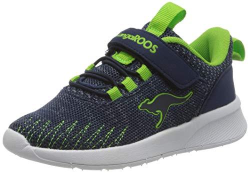 KangaROOS KF Tie EV Unisex-Kinder Sneaker, Blau (Dark Navy/Lime 4054), 33 EU