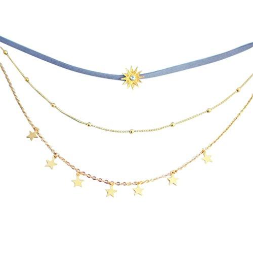 SANWOOD Five Point Star Pendant Women Choker Rhinestone Necklace Chain...