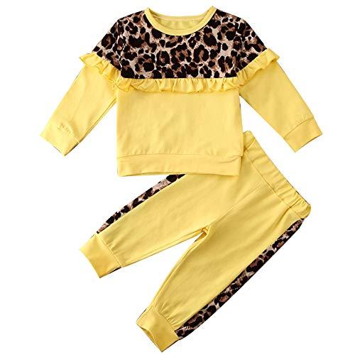 Agoky Conjunto de 2 Piezas Bebé Niña Ropa Deportiva para Niña de Algodón Sudadera sin Capucha Estampado de Leopardo + Pantalones Largos Elásticos Amarillo 5-6 años