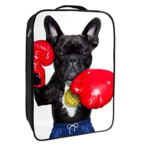 Schuh-Aufbewahrungsbox, für Reisen und den täglichen Gebrauch, schwarz, mit Doppel-Reißverschluss und 4 Taschen
