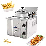 Commercial Pressure Fryer,Fencia 304 Stainless Steel Extra-Large Electric Countertop Pressure Deep Fryer with Automatic thermostat 2400W 16L for Restaurant,Hotel and Snack Shops -US Shipping