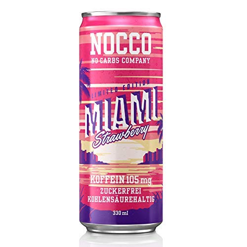 Nocco Bcaa Drink - Miami Strawberry (24x 330ml) 24 Cans - Bcaa - 105 MG Caffeine - Energy Drink - Strawberry