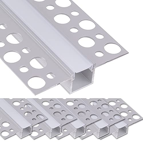 LED Trockenbauprofil 2m I LED Rigips Profil I 5x2m gerade I Alu Trockenbaueckprofil für LED-Streifen I Aluprofil I Decke I Wand