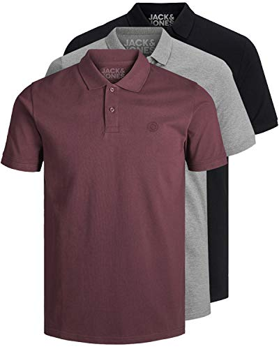 JACK & JONES 3er Pack Herren Poloshirt Slim Fit Kurzarm schwarz weiß blau grau XS S M L XL XXL 12171776 (XL, 3er Pack Farb Mix 13)