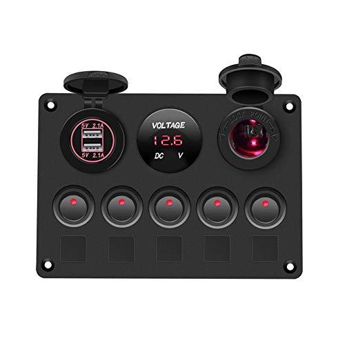 XDTLD Interruptor Interruptor Barco Panel Panel del Coche a Prueba de Agua voltímetro Digital USB de Doble combinación de Puerto de Salida de 12V LED Marinas Rocker 5 Gang, relé (Color : Red)