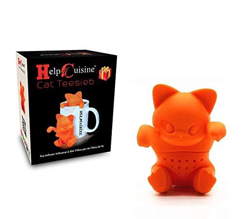 HelpCuisine® infusor de te/infusionador/colador te/filtro te/infusores de te, hecho de silicona 100% alimentaria libre de BPA, infusor en forma de Gato, (Gato + caja de regalo)