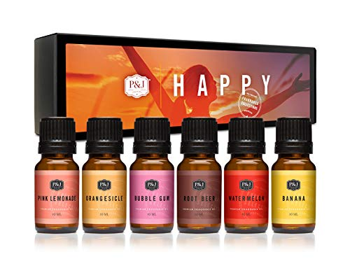 P&J Fragrance Oil | Happy Set- Scented Oils for Soap Making, Diffusers, Candle Making, Lotions, Haircare, Slime, and Home Fragrance