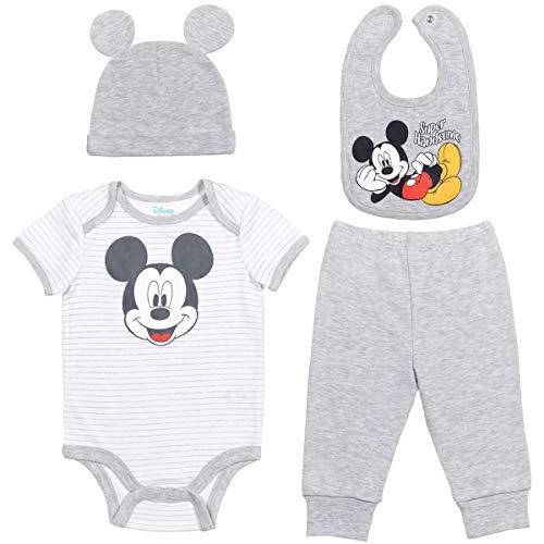 Disney Mickey Mouse Baby Boys Layette Set: Bodysuit Pants Hat Bib Baby Blue 18 Months