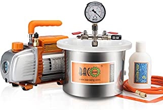 BACOENG 1 1/2 Gallon Vacuum Chamber Kit with 3.6 CFM 1 Stage Vacuum Pump HVAC