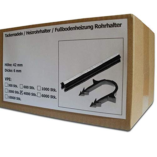 4000 Stück SANPRO Tackernadeln - Heizrohrhalter - Fußbodenheizung Rohrhalter