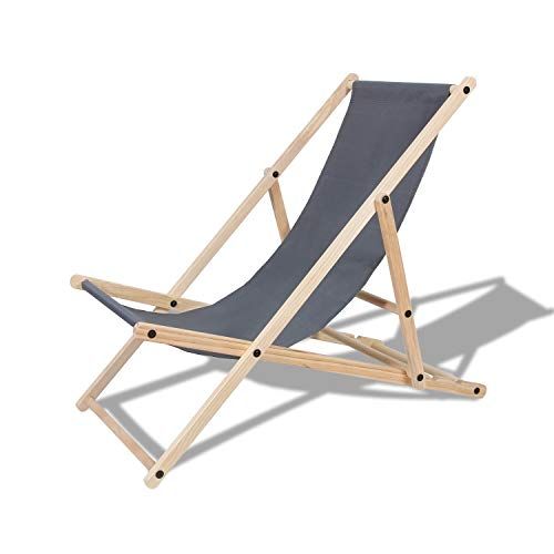 TolleTour Holz Klappstuhl klappbar Gartenliege Abnehmbarem Strandliege für den Garten, Terrasse und Balkon 120 kg max.(Grau)