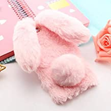Fitted Cases - Rabbit Ears fluffy Fur Plush Bling diamond phone Case For 8 7 6 5 3 2 1 7.1 6.1 5.1 3.1 2.1 X5 X6 Plus 2018 Back Cover (Pink For Nokia 7.1)