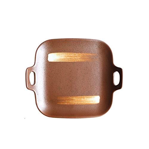 XINGYAO Plato de cena 1 unidad de 22,86 cm, estilo japonés, diseño de rayas, platos cuadrados con doble asa para el hogar (color: C)