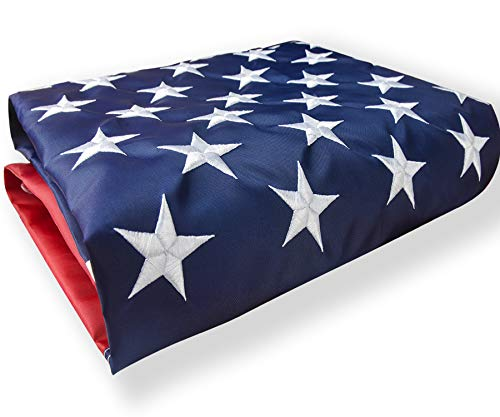 American Flag 3x5 Outdoor US Flag Nylon Made in USA Embroidered Stars/Sewn Stripes/UV Protection/Brass Grommets USA Flag Built for Outdoor Use