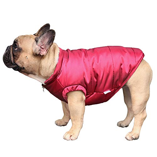 ICHOUE Dog Cotton Padded Coat Thick Winter Warm Vest Waistcoat Cold Weather Jacket Clothing for English Bulldog Bully Pitbull- Red L+