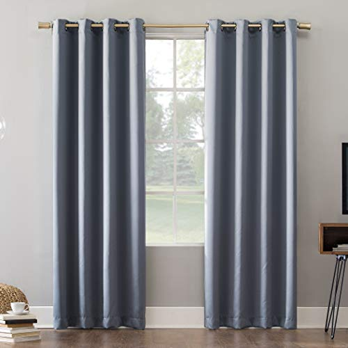 "Sun Zero Oslo Theater Grade Extreme 100% Blackout Grommet Curtain Panel, 52"" x 95"", Haze"