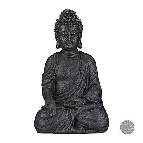 Relaxdays, dunkelgrau sitzende Figur, 40 cm hoch, Feng Shui, Outdoor, Garten Dekofigur, große Zen Buddha Statue