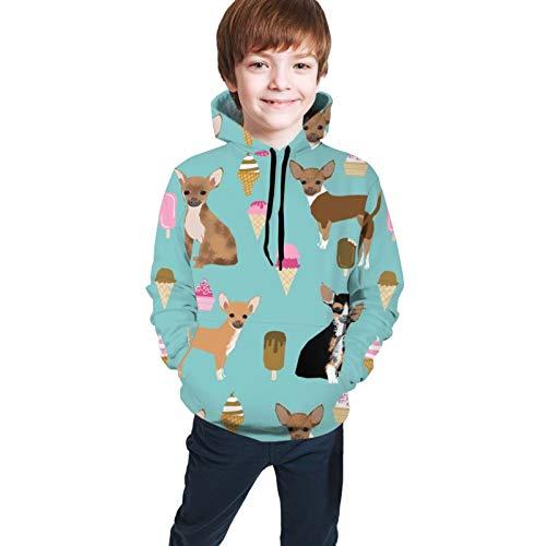 Zhgrong Chihuahua Ice Cream Summer Dog Breed Pattern Unisex Youth Teenager Youth Sweatshirt for Boys/Girls/Children's