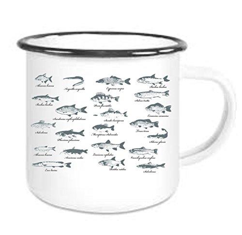Crealuxe Emaille Tasse mit Rand Fischarten - Kaffeetasse mit Motiv, Bedruckte Email-Tasse mit Sprüchen oder Bildern