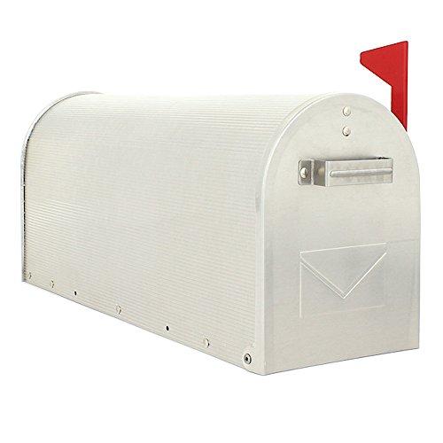 HomeDesign Briefkasten HDM-1300-Alu, Schwenkbare Fahne, US-Standardgröße, Ständermontage, Postmelder