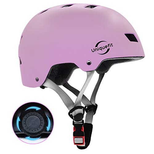 UniqueFit Kinder Jugend Adult Verstellbarer Helm für Roller Radfahren Rollschuh (Purple pink, Large:58-61cm/22.8
