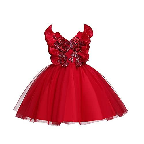TiaoBug Mädchen Kleider Festlich Kinder Prinzessin Partykleid Rüschen Kurzarm Sommer Abendkleid Hochzeits Festzug Outfits gr. 92-140 Rot B 92-98
