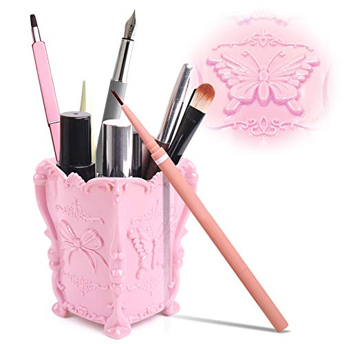 Kalevel Makeup Brush Holder Cosmetic Organizer Storage Pen Holder Cup Container, Sturdy and Easy to Clean, Pink