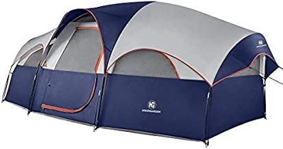 HIKERGARDEN 8-Person Tent - Quick & Easy Setup Camping Tent, Professional Waterproof & Windproof Fabric, 5 Large Mesh for Ventilation, Double Layer, Lightweight & Portable with Carry Bag (Blue)
