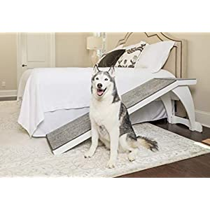 PetSafe CozyUp Bed Ramp – Durable Wooden Frame Supports up to 120 lb – Furniture Grade Wood Pet Ramp with White Finish – High-Traction Carpet Surface – Great for Older Dogs and Cats