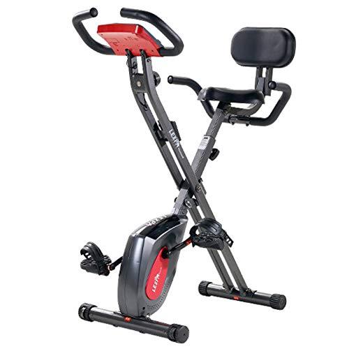 Weiyue Bicicleta estática Plegable Magnético Bicicleta Ciclismo Equipo Entrenamiento X-Bike con Sensor Pulso manoPantalla LCD Entrenador Brazos y Entrenador de piernas-Negro 53 * 90.5 * 114