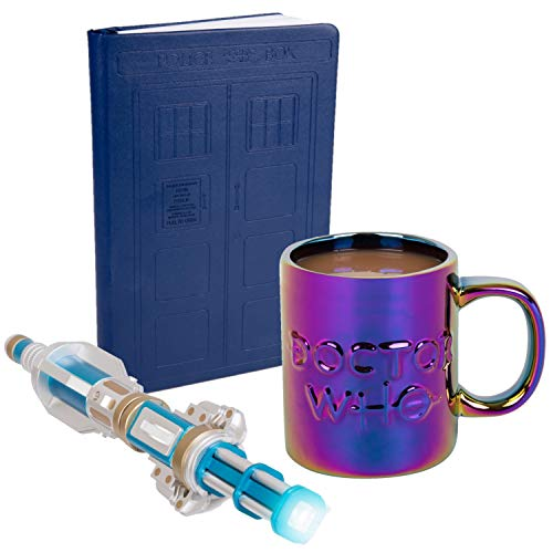 Doctor Who 3 Piece Gift Set - 12th Doctor Sonic Screwdriver Flashlight, TARDIS Journal Dr. Who Mug - For the Ultimate Fan