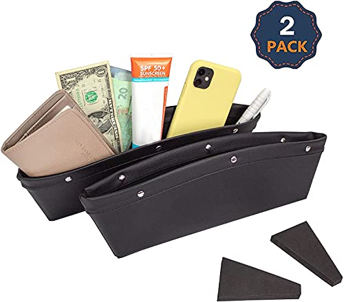 EcoNour Car Seat Gap Filler | Fits in Between Car Seat Catcher to Organize Keys, Coins, Mobiles and Wallet | Car Seat Gap Organizer Front Seat to Stop Things from Dropping Between Seats | Pack of Two
