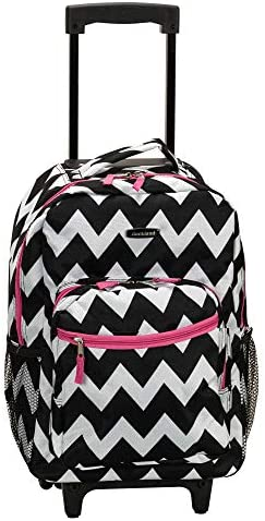 Rockland Double Handle Rolling Backpack Pink Chevron 17 Inch product image