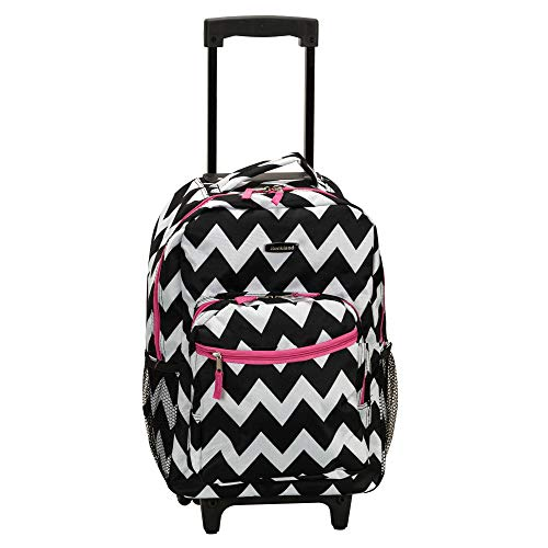 Rockland Double Handle Rolling Backpack, Pink Chevron, 17-Inch
