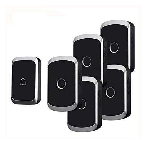 LGCTION Doorbell Wireless Waterproof 300M Remote 1 Battery Button 5 Receivers 36 Chimes 4 Volume LED Light Home Cordless Bell (Color : Black)