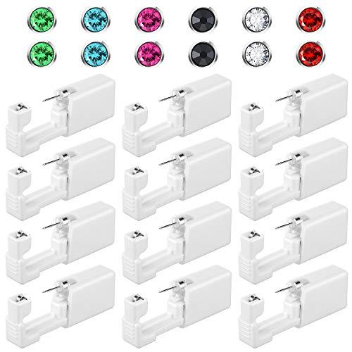 12 Stücke Einweg Sicherheit Ohrenpiercing Werkzeug Ohr Nasen Selbstpiercing Kit mit Kristall Ohrstecker