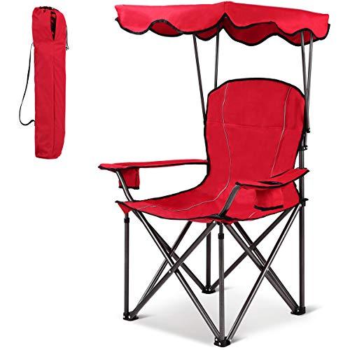 COSTWAY Silla de Camping con Techo y Portavasos Silla de Playa Plegable Carga hasta 120 kg para Patio al Aire Libre