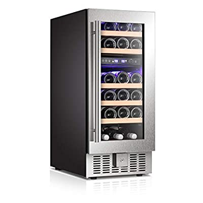 "Antarctic Star 15"" Wine Cooler Beverage Refrigerator Beer Mini Fridge 28 Bottles Dual Zone Built-in Freestanding Stainless Steel Double-Layer Tempered Digital Temperature Memory Function Glass Door"